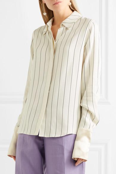 Roksanda Kanika Hemd aus gestreiftem Crêpe de Chine mit Satinbesatz