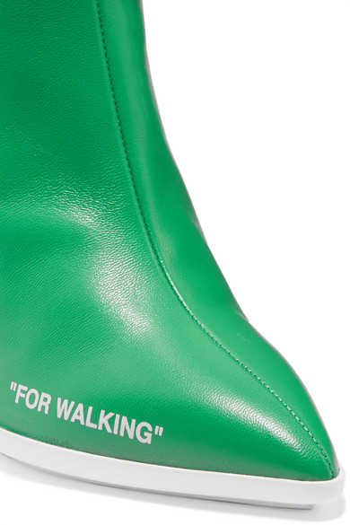 Off-White For Walking Ankle Boots aus bedrucktem Leder und Jacquard mit Logo Rabatt Wiki Bq9BA