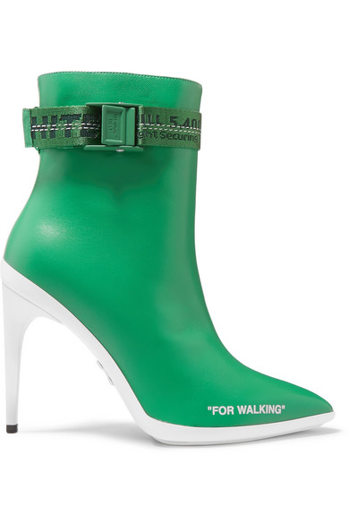 Off-White - For Walking Logo-jacquard Printed Leather Ankle Boots - Green