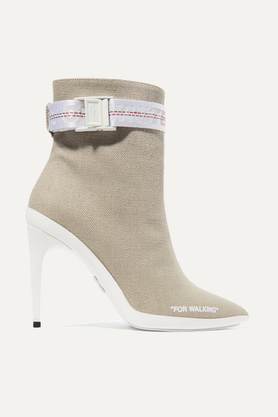 Off-White - For Walking Buckled Canvas Ankle Boots - Sand