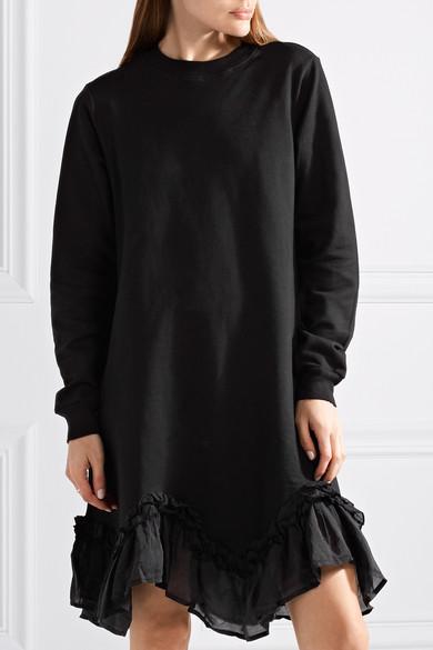 CLU Kleid aus Baumwoll-Jersey mit Seidenbesätzen