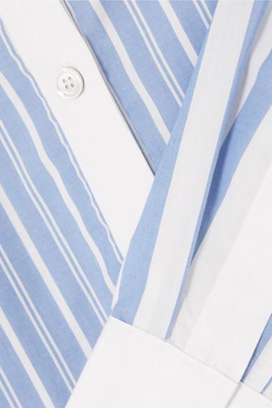 CLU Gestreiftes Hemdblusenkleid aus Baumwolle mit Gürtel