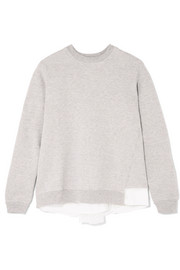 CLU Satin and mesh-paneled cotton-blend jersey sweatshirt