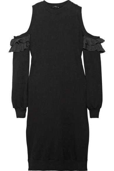 Cold-shoulder Silk-trimmed Cotton-jersey Dress - Black Clu osoc5IlKZ