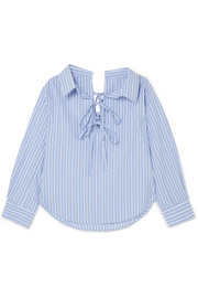 Off-the-shoulder striped cotton and Tencel-blend shirt