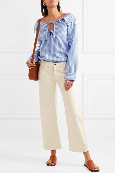 CLU Schulterfreies Hemd aus einer gestreiften Baumwoll-Tencel®-Mischung