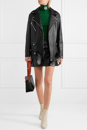 Myrtle oversized leather biker jacket
