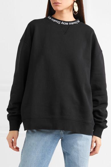 Acne Studios Yana Oversized-Sweatshirt aus Baumwoll-Jersey mit Intarsienschriftzug