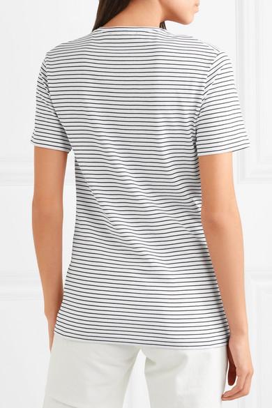 Acne Studios Nele Face gestreiftes T-Shirt aus Baumwoll-Jersey mit Applikation