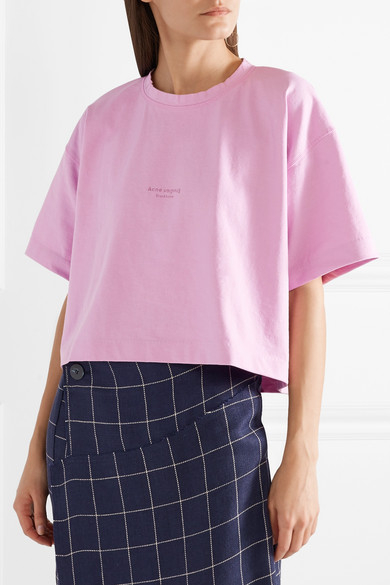 Tee-shirt En Coton Cropped Acne Studios Cylea Avec Imprimé