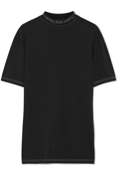 GOJINA OVERSIZED INTARSIA-TRIMMED COTTON-JERSEY T-SHIRT