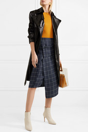 Harleth asymmetric checked linen skirt