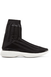 Acne Studios Batilda mesh-trimmed stretch-knit sneakers