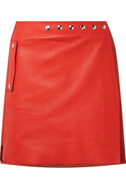 Shiryn leather wrap mini skirt
