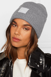 Pansy appliquéd ribbed wool beanie