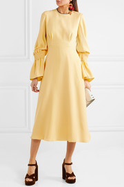 Duana shirred silk-crepe midi dress