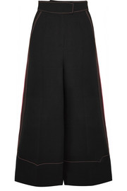 Hasani cropped silk-trimmed crepe wide-leg pants