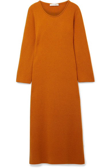 The Row Tirrie Midi Dress In Ribbed Cashmere