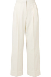 Lian pleated wool-blend wide-leg pants