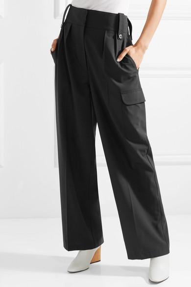 The Row Kiefer Hose mit weitem Bein aus Stretch-Wolle