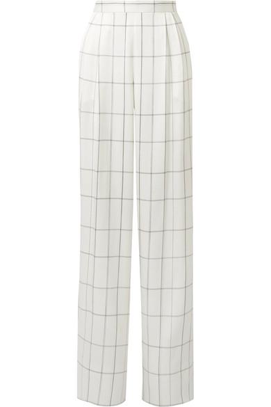 The Row Wendal karierte Hose mit weitem Bein aus Seidensatin