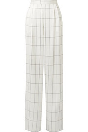The Row Wendal checked silk-satin wide-leg pants