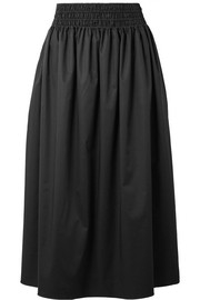 Betsy stretch-cotton poplin midi skirt