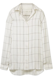 The Row Big Sisea oversized checked silk-satin shirt