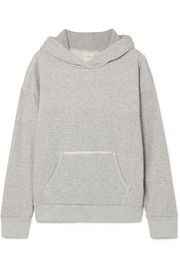 SIMON MILLER Boise frayed French cotton-terry hooded sweatshirt