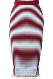 Striped ribbed stretch cotton-blend midi skirt