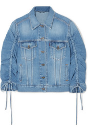 Trucker gathered denim jacket