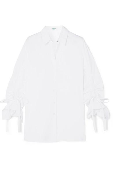 KENZO Hemd aus Baumwollpopeline mit Raffungen