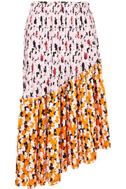 KENZO Asymmetric printed pleated crepe midi skirt