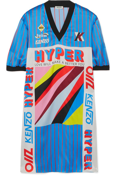 KENZO - Ribbed Jersey-trimmed Printed Silk-satin Mini Dress - Blue