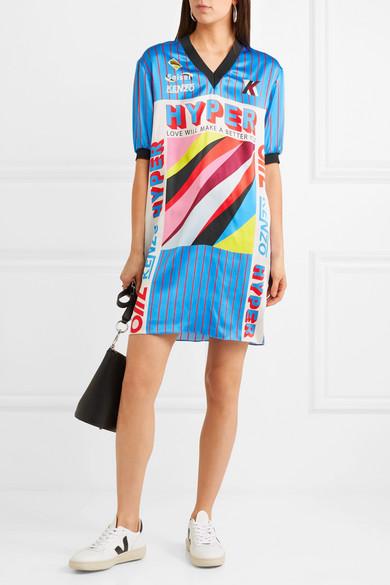 KENZO Minikleid aus bedrucktem Seidensatin mit Besatz aus geripptem Jersey