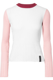 Color-block ribbed cotton and cashmere-blend sweater