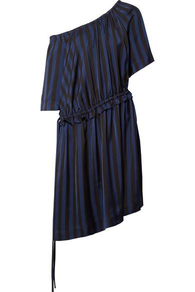 KENZO Gestreiftes Kleid aus glänzendem Jacquard mit asymmetrischer Schulterpartie