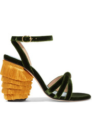 MR by Man Repeller Jingling fringed velvet sandals