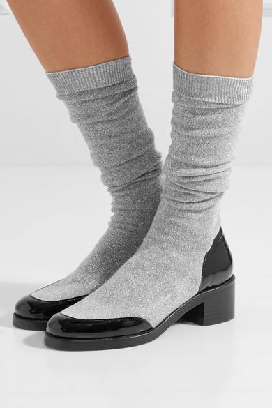 MR by Man Repeller Kniehohe Stiefel aus Metallic-Stretch-Strick mit Lederbesatz