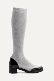 MR by Man Repeller Leather-trimmed metallic stretch-knit knee boots
