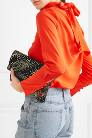 Star-print suede clutch