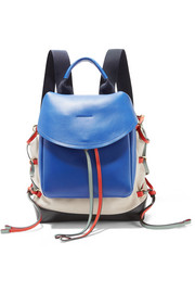 Leather-paneled canvas backpack
