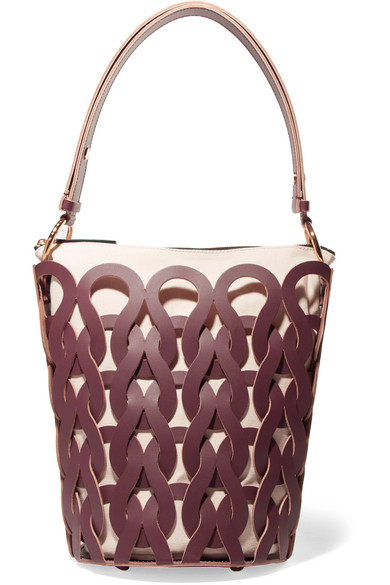 Marni - Tricot Woven Leather And Canvas Tote - Burgundy