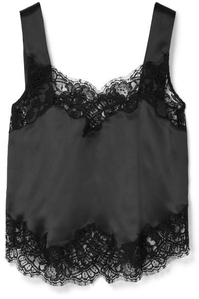 Givenchy Top aus Seiden-Charmeuse mit Einsätzen aus schnurgebundener Spitze aus einer Baumwollmischung
