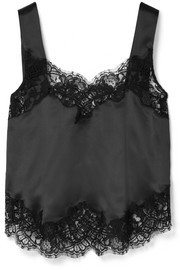 Givenchy Lace-trimmed silk-charmeuse camisole