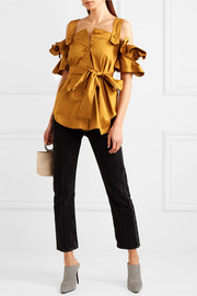 Giuliani cold-shoulder belted ruffled cotton-blend top
