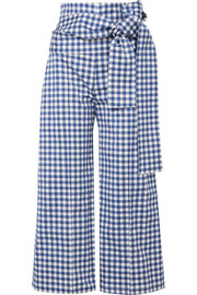 Silvia Tcherassi Salve cropped gingham cotton-blend wide-leg pants