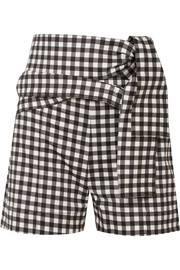 Silvia Tcherassi Sella belted gingham cotton-blend shorts