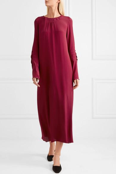 Marni Maxi Dress In Crêpe De Chine From Silk With Ruffles