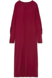 Marni Smocked crepe de chine maxi dress